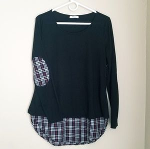 Red/Blk Plaid Elbow Patch Long Sleeve Fall Top